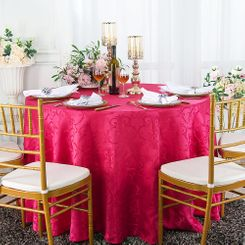 "120"" Versailles Chopin Jacquard Damask Polyester Tablecloth- Fuchsia92609 (1pc/pk)"