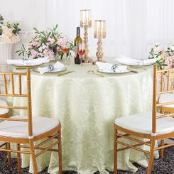"120"" Versailles Chopin Jacquard Damask Polyester Tablecloth- Ivory 92602 (1pc/pk)"