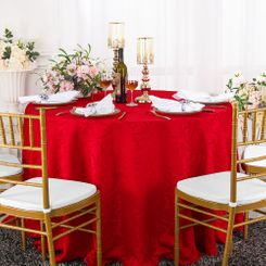 "120"" Versailles Chopin Jacquard Damask Polyester Tablecloth- Red 92612 (1pc/pk)"