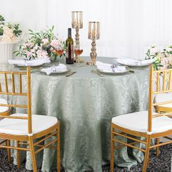 "120"" Versailles Chopin Jacquard Damask Polyester Tablecloth- Silver 92640 (1pc/pk)"