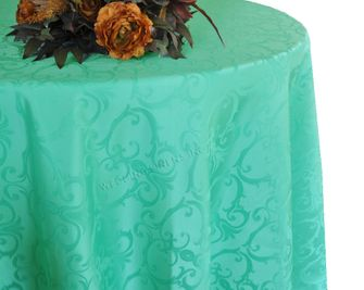 "120"" Versailles Chopin Jacquard Damask Polyester Tablecloth- Tiff Blue / Aqua Blue 92618 (1pc/pk)"