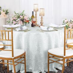 "120"" Versailles Chopin Jacquard Damask Polyester Tablecloth- White 92601 (1pc/pk)"