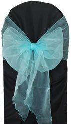 Wide Organza Chair Sashes - Tiff Blue / Aqua Blue 51818 (10pcs/pk)