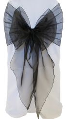 Wide Organza Chair Sashes - Black 51839 (10pcs/pk)