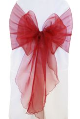 Wide Organza Chair Sashes - Burgundy 51810 (10pcs/pk)