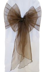 Wide Organza Chair Sashes - Chocolate 51891 (10pcs/pk)