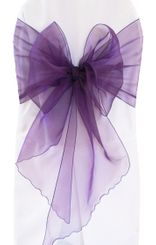 Wide Organza Chair Sashes - Eggplant 51845 (10pcs/pk)