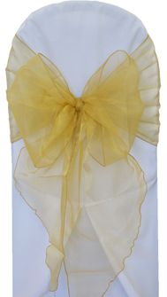 Wide Organza Chair Sashes - Gold 51827 (10pcs/pk)