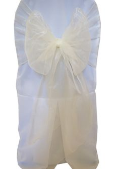 Wide Organza Chair Sashes - Ivory 51802 (10pcs/pk)