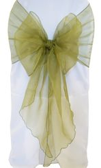 Wide Organza Chair Sashes - Moss Green 51817 (10pcs/pk)