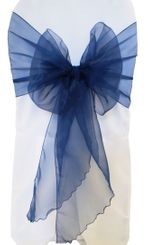 Wide Organza Chair Sashes - Navy Blue 51823 (10pcs/pk)