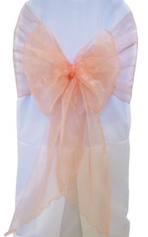 Wide Organza Chair Sashes - Peach / Apricot 51831(10pcs/pk)