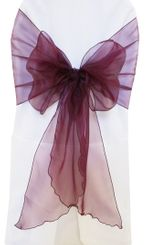 Wide Organza Chair Sashes - Plum 51865 (10pcs/pk)