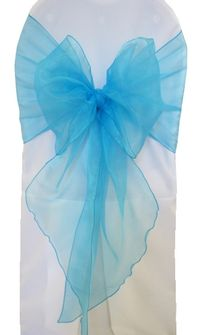 Wide Organza Chair Sashes - Turquoise 51885 (10pcs/pk)