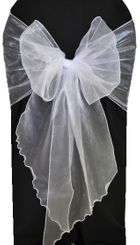 Wide Organza Chair Sashes - White 51801 (10pcs/pk)