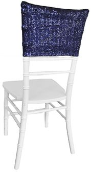 "13.5""x10"" Sequin Spandex Chair Caps - Navy Blue 00223 (1pc/pk)"