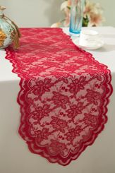 "13.5""x108"" Lace Table Runner - Apple Red 90608(1pc/pk)"