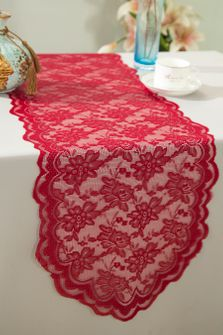"""13.5""""x108"""" Lace Table Runner - Apple Red 90608(1pc/pk)"""