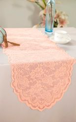 "13.5""x108"" Lace Table Runner - Apricot/Peach 90631(1pc/pk)"