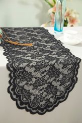 "13.5""x108"" Lace Table Runner - Black 90639(1pc/pk)"