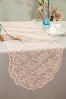 """13.5""""x108"""" Lace Table Runner - Blush Pink 90615(1pc/pk)"""