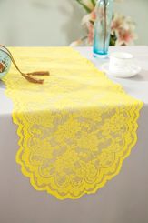 "13.5""x108"" Lace Table Runner - Canary Yellow 90616(1pc/pk)"
