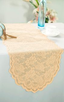 """13.5""""x108"""" Lace Table Runner - Champagne 90628(1pc/pk)"""