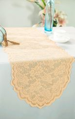 "13.5""x108"" Lace Table Runner - Champagne 90628(1pc/pk)"