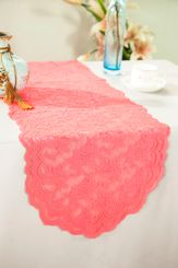 "13.5""x108"" Lace Table Runner - Coral 90606(1pc/pk)"