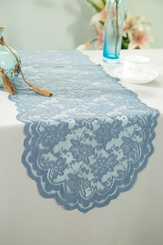 """13.5""""x108"""" Lace Table Runner - Dusty Blue 90603(1pc/pk)"""