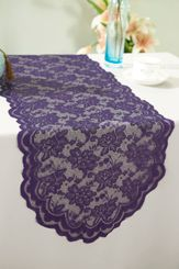"13.5""x108"" Lace Table Runner - Eggplant 90645(1pc/pk)"