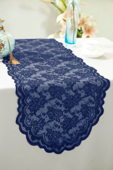 """13.5""""x108"""" Lace Table Runner - Navy Blue 90623(1pc/pk)"""