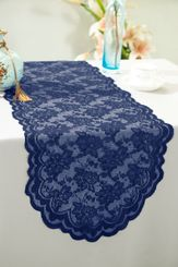 "13.5""x108"" Lace Table Runner - Navy Blue 90623(1pc/pk)"