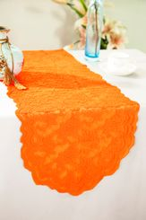 "13.5""x108"" Lace Table Runner - Orange 90633(1pc/pk)"