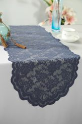 "13.5""x108"" Lace Table Runner - Pewter 90660(1pc/pk)"