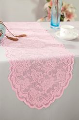 "13.5""x108"" Lace Table Runner - Pink 90605(1pc/pk)"