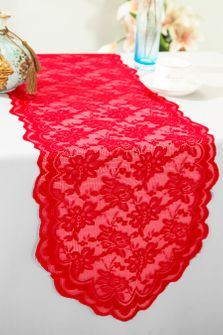 """13.5""""x108"""" Lace Table Runner - Red 90612(1pc/pk)"""