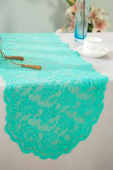 "13.5""x108"" Lace Table Runner - Tiff Blue / Aqua Blue 90618(1pc/pk)"