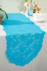 "13.5""x108"" Lace Table Runner - Turquoise 90685(1pc/pk)"