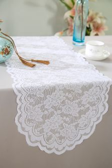 """13.5""""x108"""" Lace Table Runner - White 90601(1pc/pk)"""