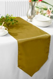 "13.5""x108"" Satin Table Runner - Antique Gold 53629(1pc)"