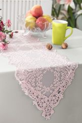 "13"" x 108"" Floral Corded Lace Embroidered Table Runner - Blush Pink 90315 (1pc/pk)"