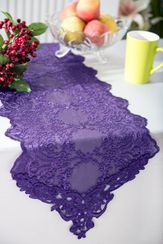 "13"" x 108"" Floral Corded Lace Embroidered Table Runner - Eggplant 90345 (1pc/pk)"
