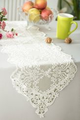 "13"" x 108"" Floral Corded Lace Embroidered Table Runner - Ivory 90302 (1pc/pk)"