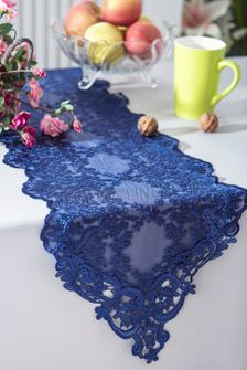 """13"""" x 108"""" Floral Corded Lace Embroidered Table Runner - Navy Blue 90323 (1pc/pk)"""