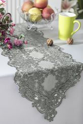 "13"" x 108"" Floral Corded Lace Embroidered Table Runner - Silver 90340 (1pc/pk)"