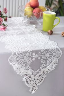 """13"""" x 108"""" Floral Corded Lace Table Runner - White 90301 (1pc/pk)"""