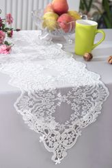 "13"" x 108"" Floral Corded Lace Table Runner - White 90301 (1pc/pk)"