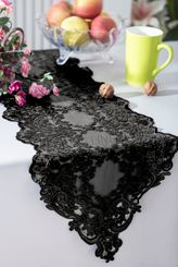 "13"" x 108"" Floral Corded Lace Table Runner - Black 90339 (1pc/pk)"