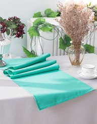 "13"" x 108"" Polyester Table Runners - Tiff Blue / Aqua Blue 52918 (1pc)"